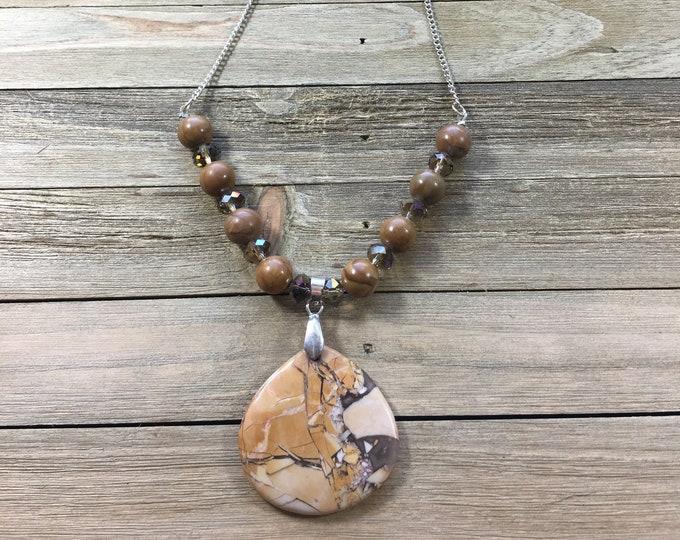 CLEARANCE! Gold/brown brecciated jasper pendant with wood jasper beads & iridescent czech glass beads, silver chain