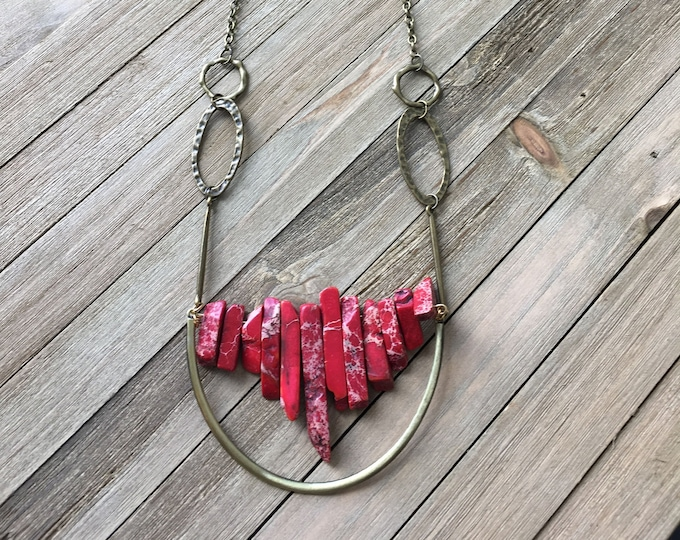 Beautiful red imperial sea sediment jasper stick bead stone necklace with antique gold U accent on funky golden geometric chain