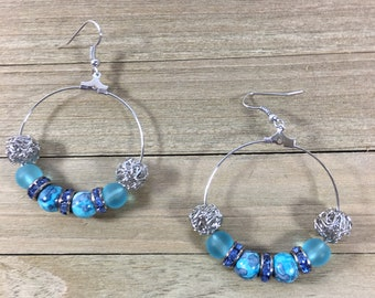 CLEARANCE! Blue rain stone jasper silver wire beads & sea glass beads w rhinestone beads silver metal round loop/hoop on silver french hooks