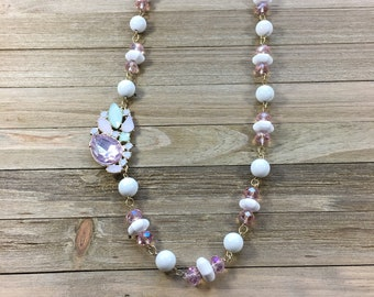 CLEARANCE! Vanilla magnesite octagonal & round beads w iridescent pink czech glass beads on hand looped necklace w side pendant