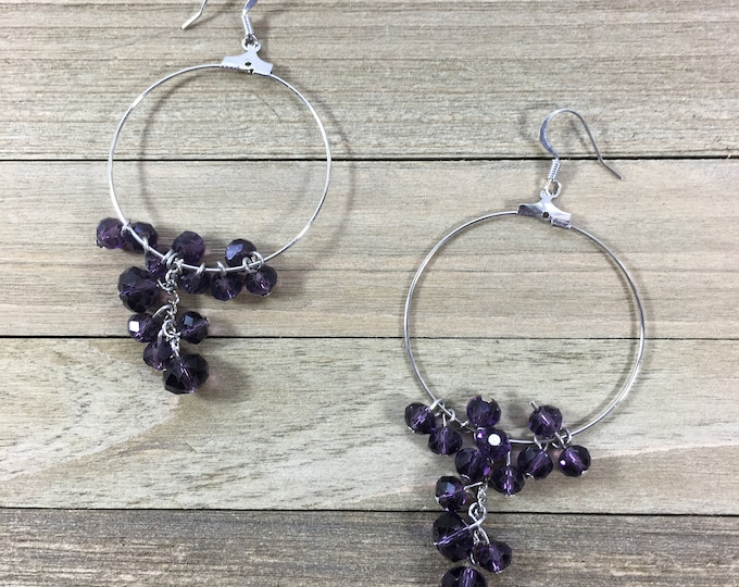 CLEARANCE! Royal dark purple faceted glass crystal large and small round beads on silver hoop wire earrings with silver french hooks