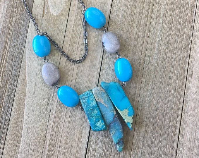 "Geometric funky bright blue African opal aqua terra jasper stick beads, magnesite and agate on ""double"" gunmetal chain"