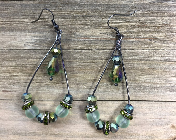 CLEARANCE! Iridescent green glass faceted crystal round and teardrop beads and sea glass beads on teardrop gunmetal wires with french hook