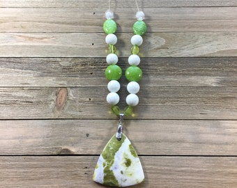 CLEARANCE! Gemstone chrysoprase lime and white trilliant shaped pendant with magnesite round tumbled stones on clear cord necklace