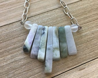 Graduated jade stick beads and sea glass on silver geometric chain