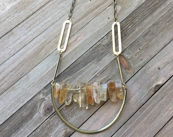 Citrine stick bead stone necklace with brass / gold U accent on geometric antique gold geometric chain