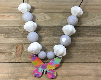 CLEARANCE! Wood marble tie dye rainbow butterfly statement necklace w ceramic chunky bead white & grey opaque faceted beads black cotton