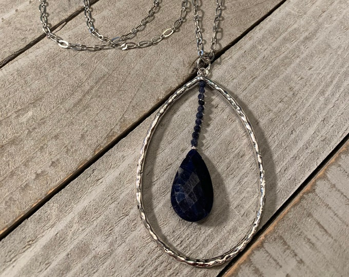 Silver teardrop necklace with briolette faceted genuine sapphire with dumortirite on fancy silver chain, closes with s hook