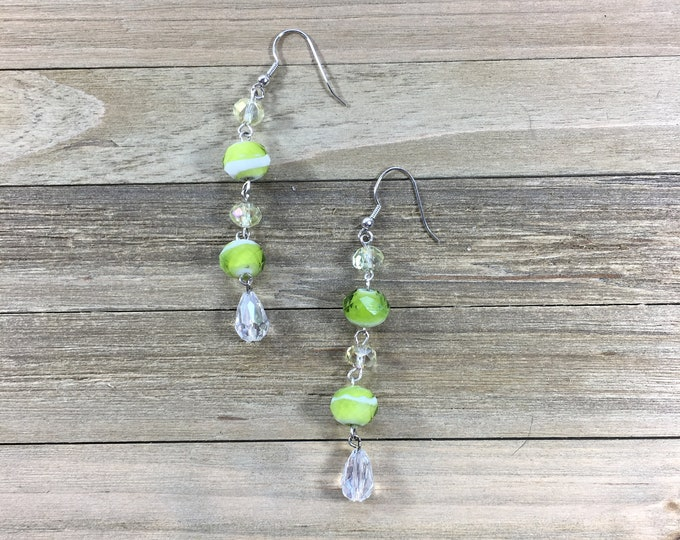 CLEARANCE! Bright lime and clear shoulder duster earrings on silver nickel free hook