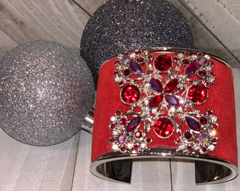 Silver, red suede leather inlay cuff with rhinestone embellishment bracelet
