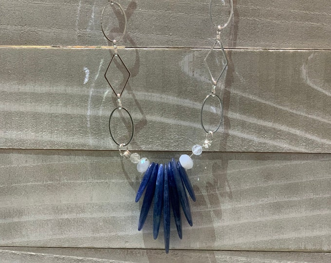 Polished kyanite blades with accent white topaz and moonstone rondells on a funky geometric silver chain