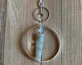 Silver circle long necklace with briolette faceted genuine green amethyst, raw green amethyst and prehnite in silver circle on silver chain