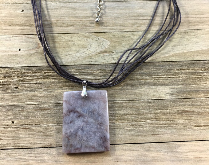 CLEARANCE! Gemstone grey and brown stone rectangle pendant on brown multi-strand necklace with silver bale and silver chain extender
