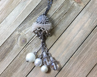 CLEARANCE! Silver pave ball with silver chain tassel with white and clear beads on gunmetal chain, long sweater necklace