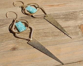 Amazonite short stick beads suspended inside brass freeform findings on 14k gold filled earwires
