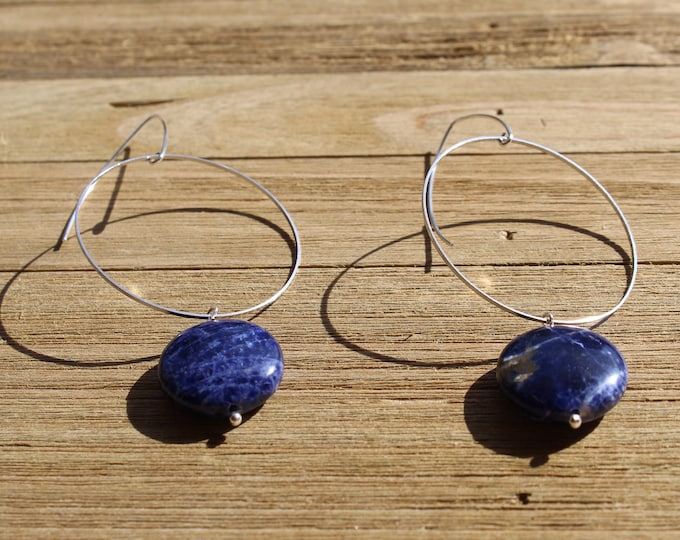 Chunky large coin blue and white sodalite suspended from silver circles on silver 925 sterling silver french hooks