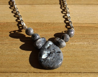 Larvikite (dark labradorite) stick beads with larvikite faceted beads on a silver chain with lobster clasp
