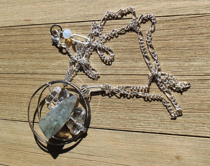Labradorite with clear quartz inside silver circles with opalite faceted stone on silver chain with lobster clasp close