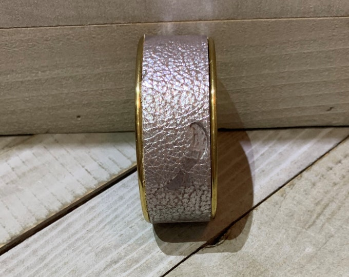 Rose gold embossed leather on gold cuff bracelet