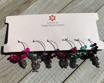 Set of 6 Wine Glass Charms Silver Bird / Owl Lover Themed
