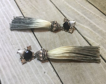 CLEARANCE! Rhinestone, silver and stone silk tassel shoulder duster pin earrings