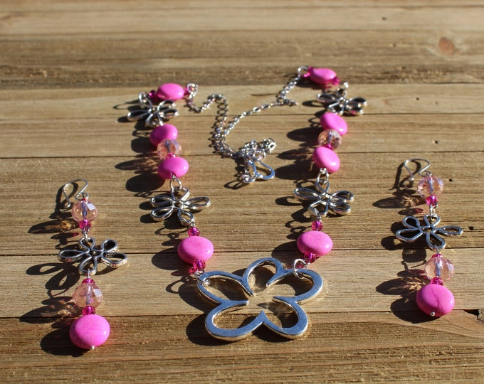Silver flower, pink dyed magnesite with czech glass bead necklace and earring set, earrings on 925 sterling silver ear wires