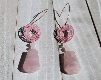 Chunky large rose quartz trapezoid beads with rose quartz star cut beads with pink enamel doodles on rose gold filled ear wires