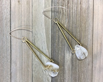 Geometric long and chunky, large semi precious citrine pear shaped beads suspended from brass bars on 14k gold filled ear wires