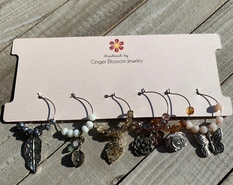 Set of 6 Wine Glass Charms Mixed Metal Garden / Flower Themed