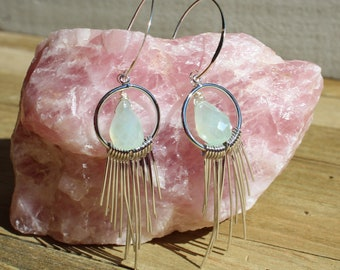 Light mint green chalcedony faceted briolettes suspended inside silver circles with fringe on 925 sterling silver earwires