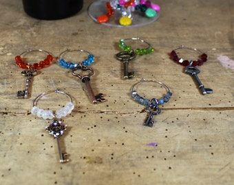 Long Keys Mixed Metal - Set of 6 Wine Glass Charms