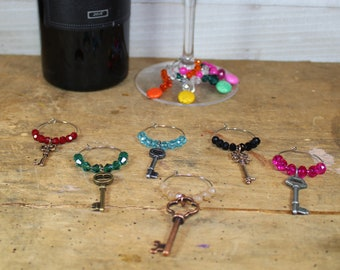 Various Size Keys Mixed Metal Charms - Set of 6 Wine Glass Charms