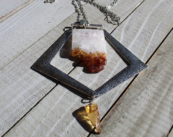 """Huge awesome raw citrine stick bead stone necklace with silver accents on silver long (30"""") chain"""