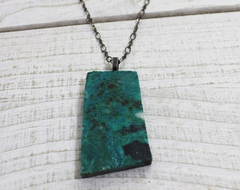 Chrysocolla slab stone on gunmetal chain that closes with s hook