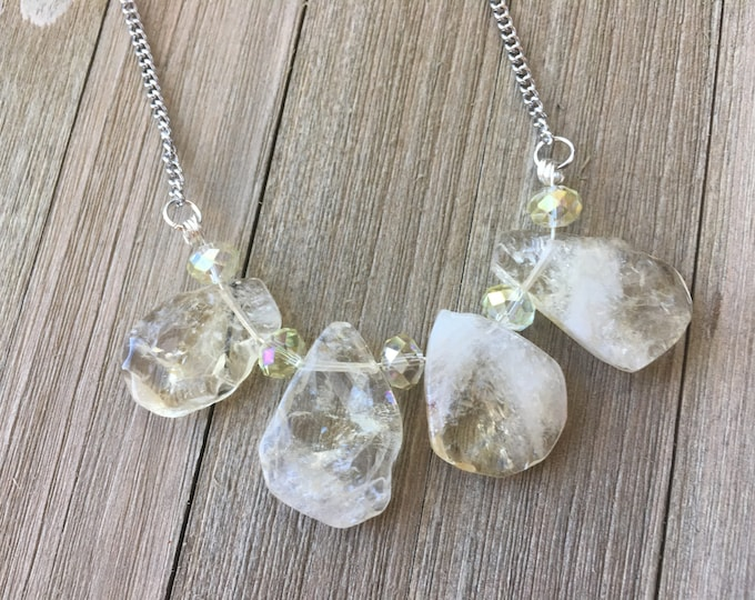 Briolette pear natural citrine beads with czech glass iridescent yellow spacer beads on silver chain