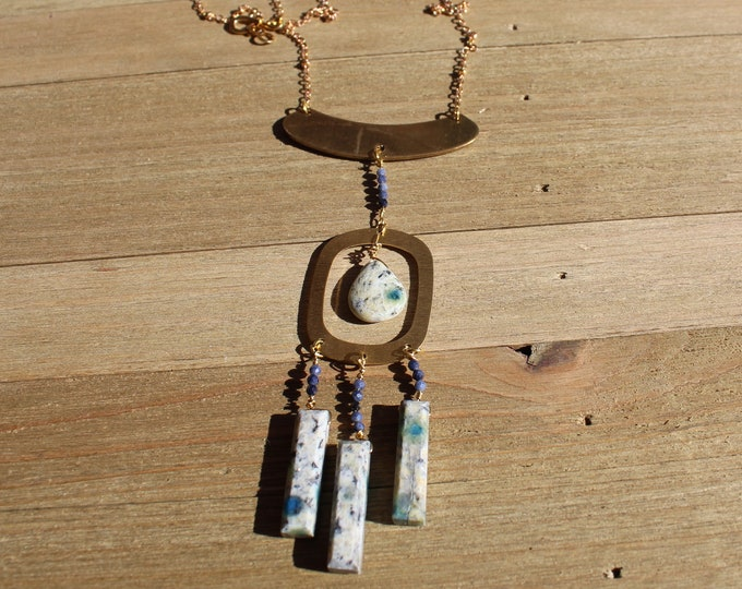 Featured listing image: K2 Jasper and sapphire beads suspended from oval shaped brass on gold colored chain with s hook closure