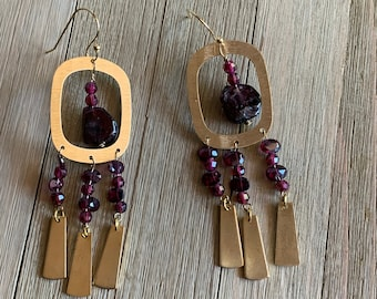 Rhodolite garnet round and briolette beaded earrings, with abstract gold oval findings on 14k gold filled earwires
