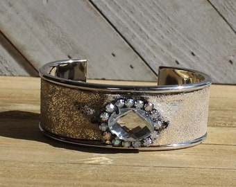Silver, champagne and silver leather with clear and aurora borealis rhinestone embellishment inlaid cuff bracelet