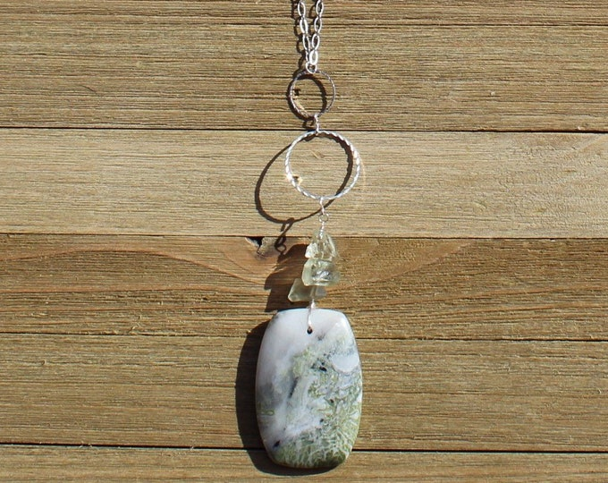 Green earth jasper rounded rectangle natural gemstone pendant with raw green amethyst & geometric silver on silver chain closes with s hook