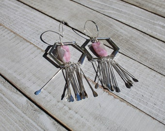 Chunky pink and grey Chinese tourmaline stones suspended in silver octagons with silver fringe on 925 sterling silver ear wires