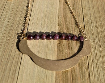 Genuine garnet polished round bead bar with brass ruffle on decorative gold chain