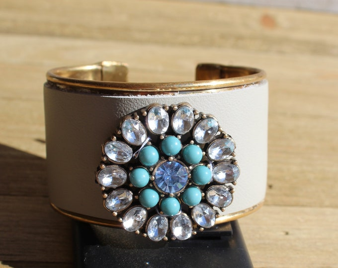 Brass, beige leather & blue, turquoise and clear rhinestone brass flower embellishment inlaid cuff bracelet