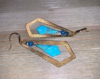 Mohave turquoise with czech glass suspended inside brass diamond and hanging from 14k gold filled earwires