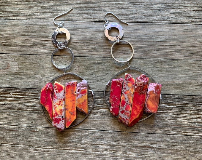 Orange and red sea sediment jasper with circles and rounded square shoulder duster earrings on 925 sterling silver ear wires