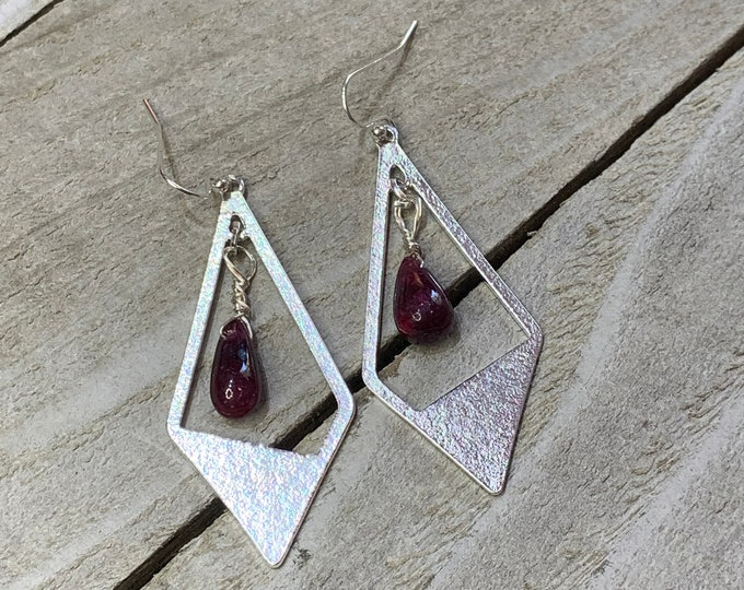 Ruby polished briolettes and stainless steel kite diamond geometric shapes on 925 sterling silver french hook earwires