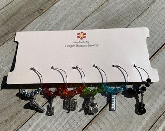 Set of 6 Wine Glass Charms Silver Band Musical Instruments Themed