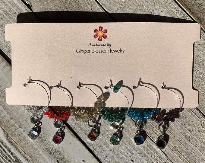 Set of 6 Wine Glass Charms  Rhinestone rainbow charms in silver