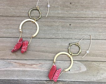 Chunky large brass stone red imperial sea sediment jasper tooth beads on with brass geometric connector on gold french hooks