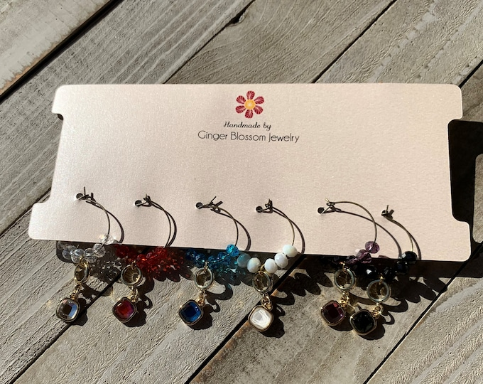 Set of 6 Wine Glass Charms  Rhinestone rainbow charms in gold