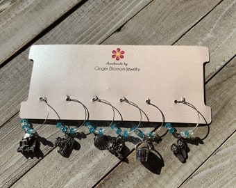 Set of 6 Wine Glass Charms - Limited Time Only - Beach themed charms